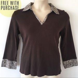 Karen Scott Leopard Trim Collared Knit Top FREE